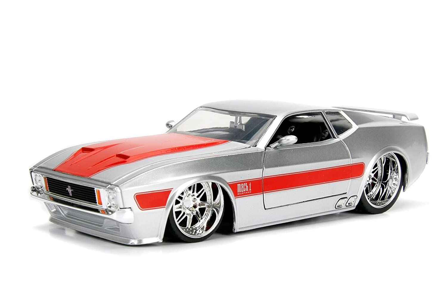 Amazon com 1973 ford mustang mach 1 silver with orange stripes 1 24 diecast model car by jada 99971 toys games