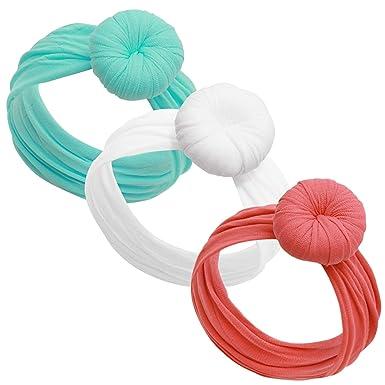 Amazon.com  Baby Girl Headbands and bows - Nylon Turban Round Knot ... 1bd14de7680
