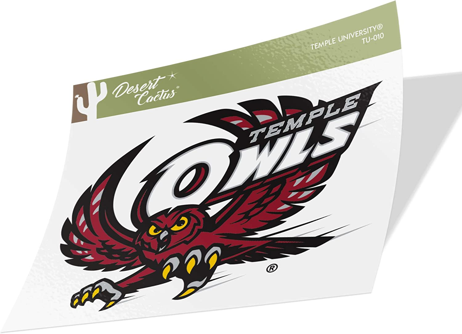 Temple University Owls NCAA Vinyl Decal Laptop Water Bottle Car Scrapbook (Sticker - 010)