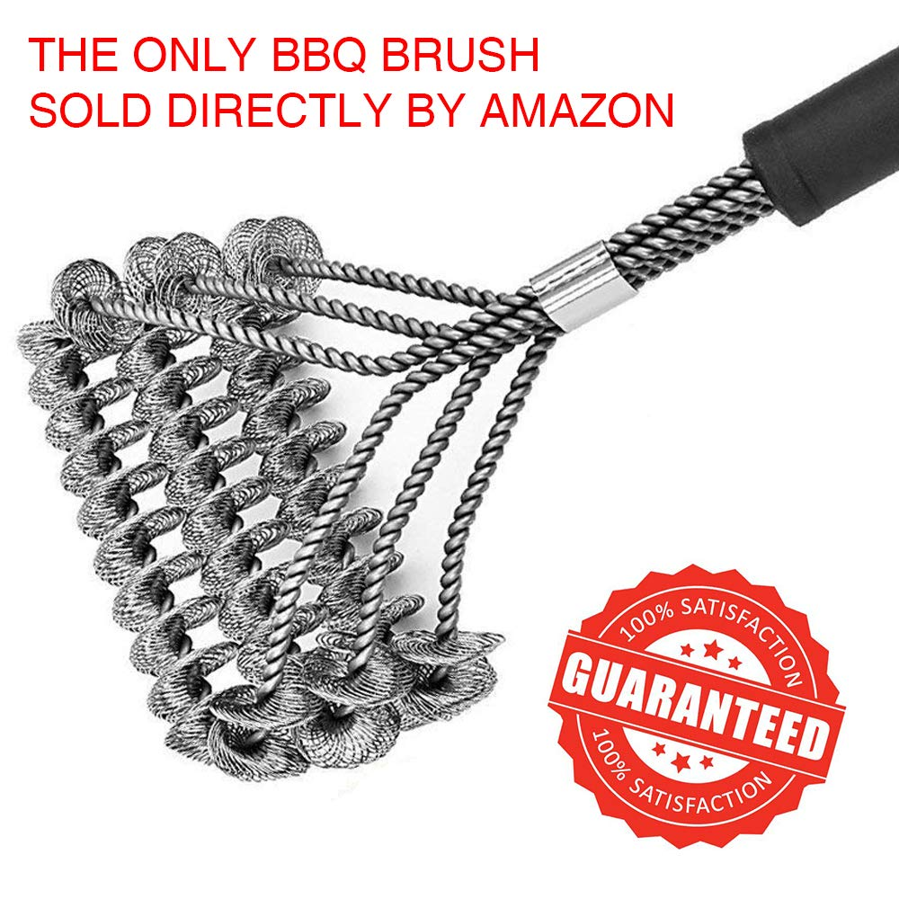 Professional BBQ Grill Brush, 100% Rust-Proof High-Nickel Stainless Steel, Safe for All Stainless Steel, Ceramic, Iron & Porcelain Barbecue Grates, Canadian Design and Company. Grill Boss GB-SS-BBQ-BRUSH