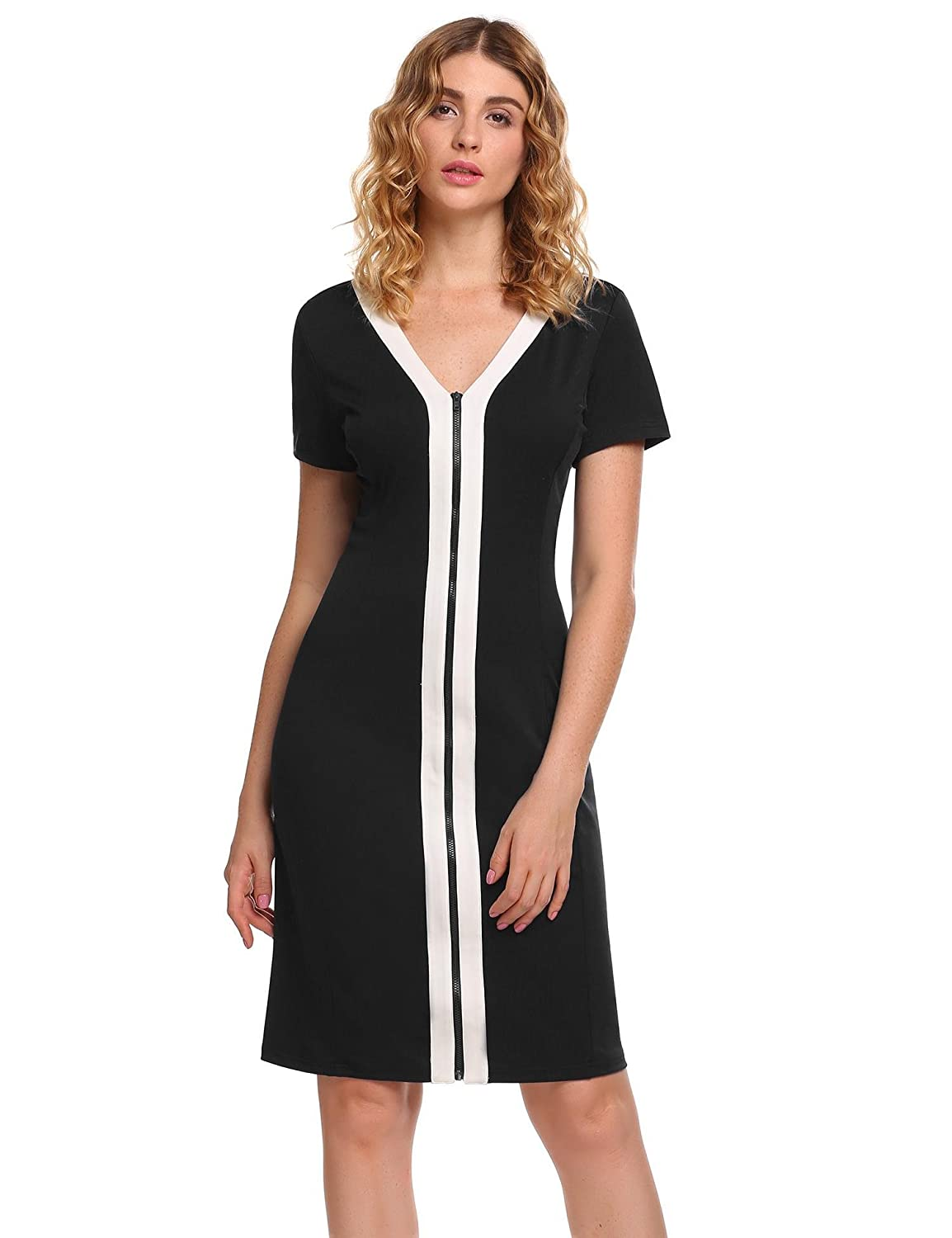698682906c5 This Pencil Dress Material: High Quality,soft,Thick,comfortable and  stretchy. Design: Stripe Pattern,O-Neck, 3/4 sleeve,Navy Style  Design,classy and basic ...
