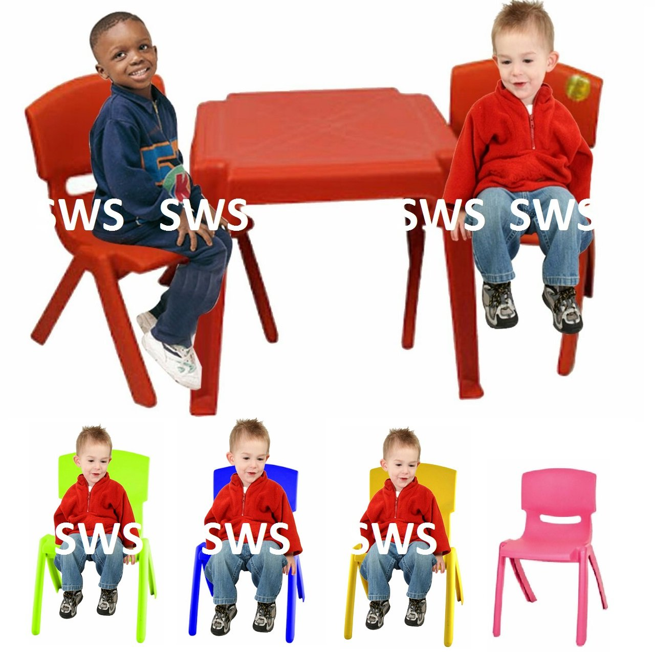 Childrens Kids Plastic Garden Outdoor Or Indoor Table and 2 Chairs Set For Boys Or Girls Pink Blue Yellow Green Red TOYO