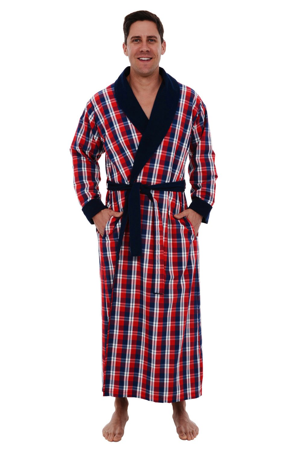 Alexander Del Rossa Del Rossa Mens Turkish Terry Cloth Robe, Woven Shell Long Bathrobe, Blue and Red Plaid Large XL (A0140P40XL) by Alexander Del Rossa (Image #1)