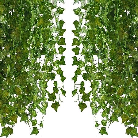 PPlantas Verdes Artificiales, Guirnaldas Falsas, Plantas De Vid, Jardín Colgante Interior Y Exterior, Fiesta De Bodas (12 Piezas) (Color : Natural): Amazon.es: Hogar