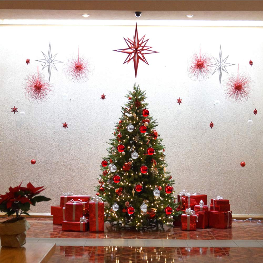 4-6cm YANX 48pcs Christmas Tree Baubles Silver Shatterproof Tree Balls Ornaments Personalised Glossy Xmas Hanging Decoration for Festival Party