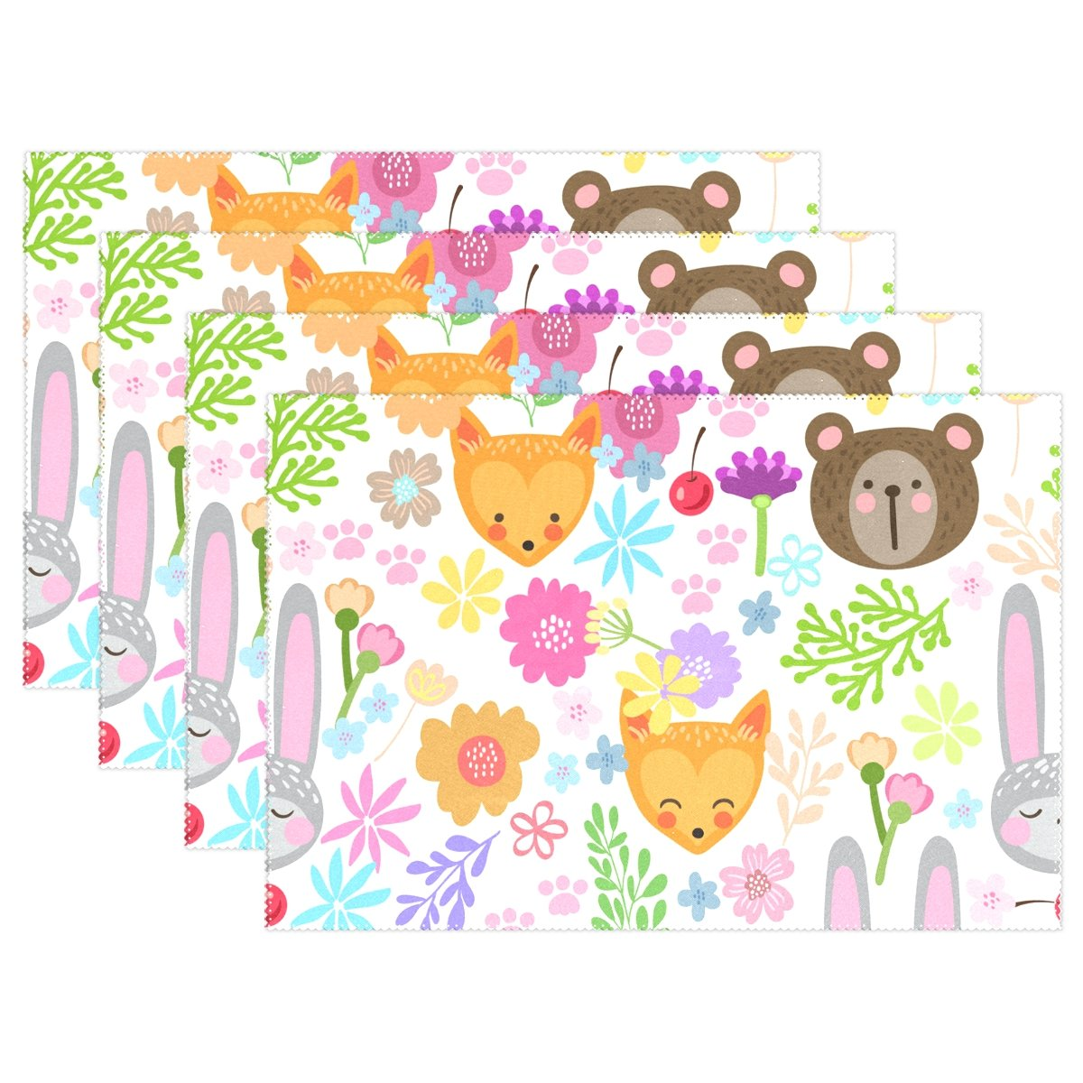 Top Carpenter Cute Animals And Flower Doodle Place Mats Washable Heat Resistant Polyester Table Mats 12'' x 18'', Set of 4
