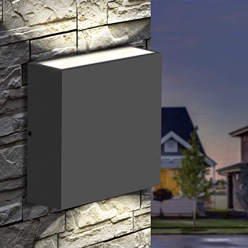 Inowel Wall Light Outdoor LED Wall Mount Lamp Modern Wall Sconce Lighting Up Down Lantern Fixture Grey Aluminum Light