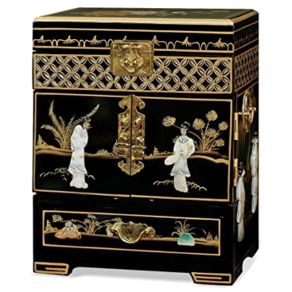 China Furniture Online Black Lacquer Jewelry Box, Hand Painted Scenery  Landscape With Maidens Motif Mother