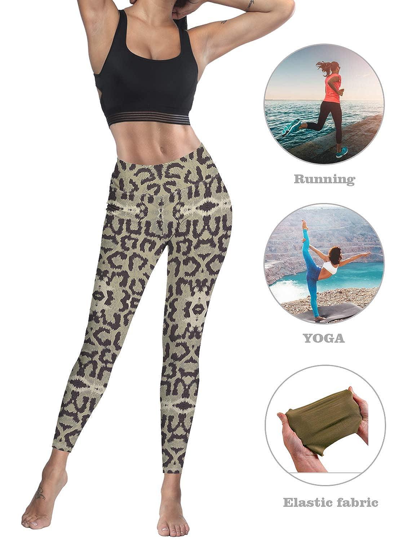 Women Stretch High Waist Yoga Pants Running Tights Animal Snake Print Capris Compression Workout Leggings