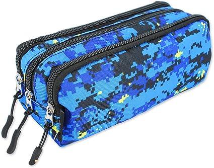 EA4863 - Estuche de camuflaje militar con 3 cremalleras, color (Militar Azul): Amazon.es: Oficina y papelería