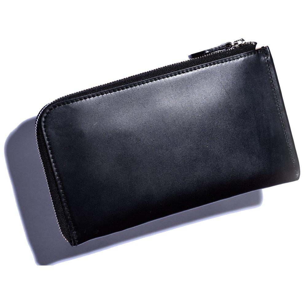 UKシェルコードバン薄マチ長財布 B07BT4CGP9 ブラック ブラック