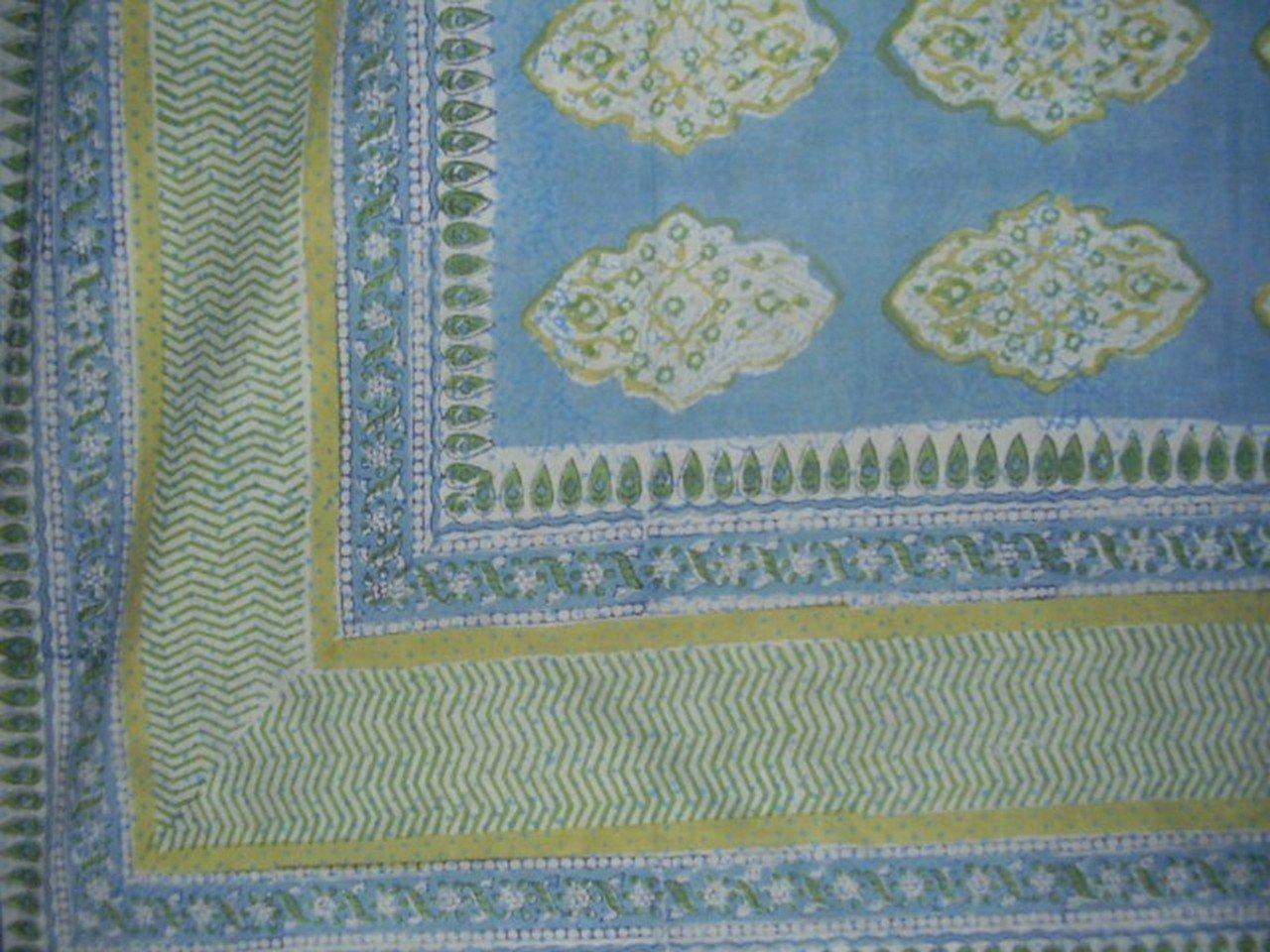 Homestead Kensington Block Print Tapestry Cotton Bedspread 108'' x 88'' Full-Queen Blue