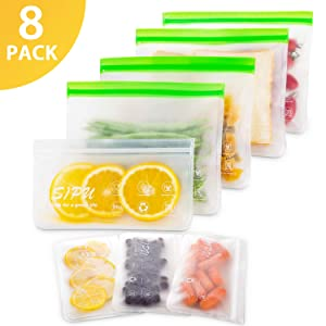 DUAL Leakproof Reusable Sandwich Bags (8 Pack) - Transparent Reusable Snack Bags, Extra Thick Food Storage Bags & FDA Grade Lunch Bags, Kids Snacks, Fruit, Travel Storage, BPA Free, Freezer Safe