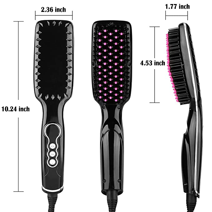 Dare Color - Cepillo iónico alisador de cabello, eléctrico, se calienta de forma segura y rápida, con temperatura ajustable y pantalla LCD, ...