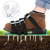 TONBUX Lawn Aerator Shoes 4 Adjustable Straps Heavy Duty Spiked Sandals Shoes with Metal Buckles One Size Fits All Spikes Sho