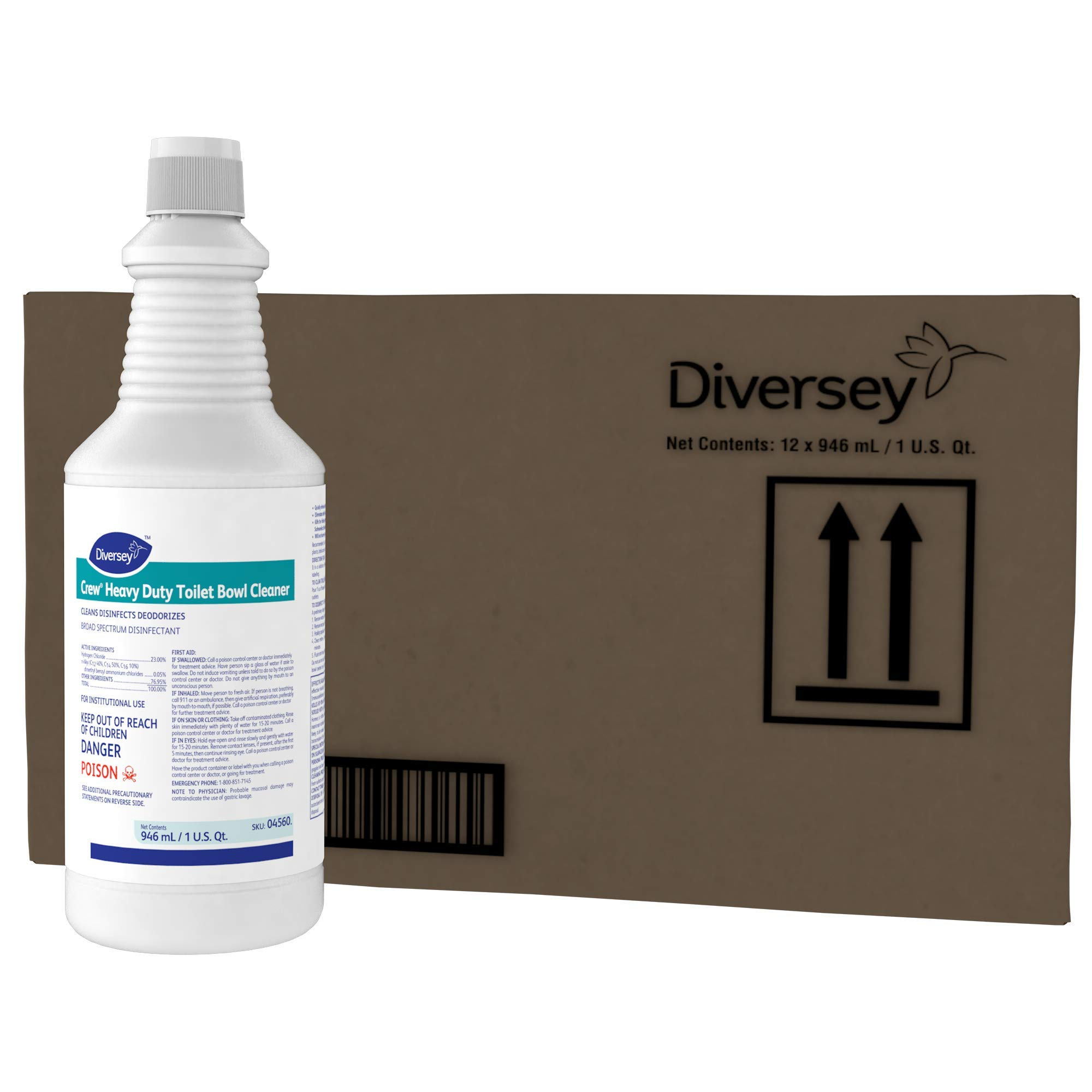 Diversey Crew Heavy Duty Toilet Bowl Cleaner - 12 Pack - Perfect for eliminating Offensive Odors, Rust, gunk, and Lime Scale (32 oz Bottle) by Diversey (Image #2)
