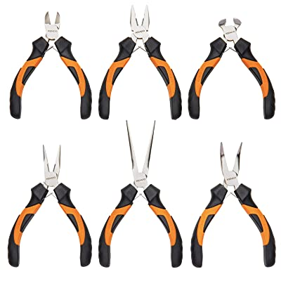 KENDO 6-Pieces Mini Pliers Set - Long, Bent, Needle Nose, Diagonal, End Cut, Combination - Spring Loaded Handle, 4.5 Inch - Mechanic, Craftsman Basic Tool Kit - Roll Up Carry Bag Included [5Bkhe0801430]