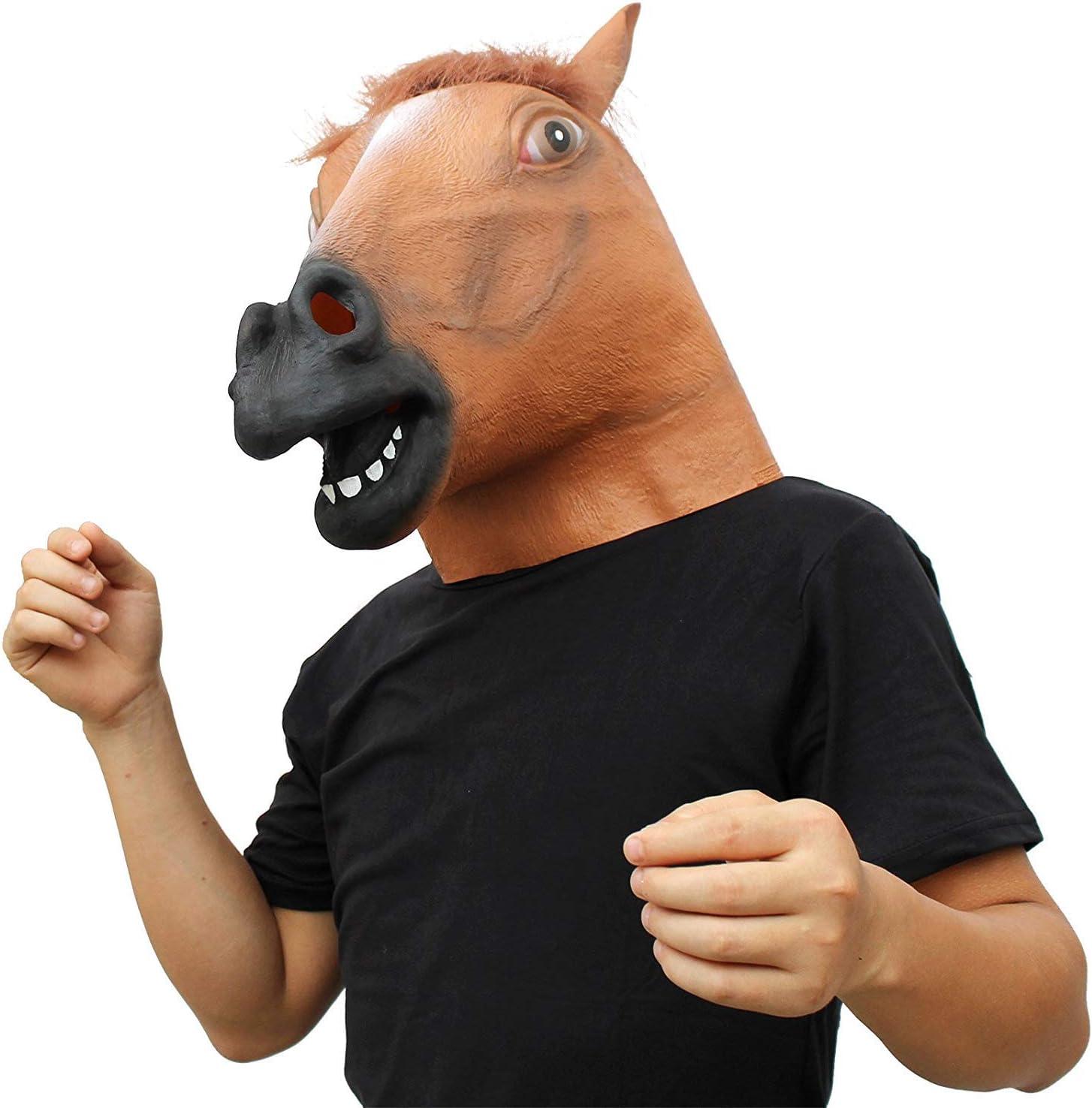 CreepyParty Máscara de Cabeza de Animal de Látex Fiesta de Halloween Caballo