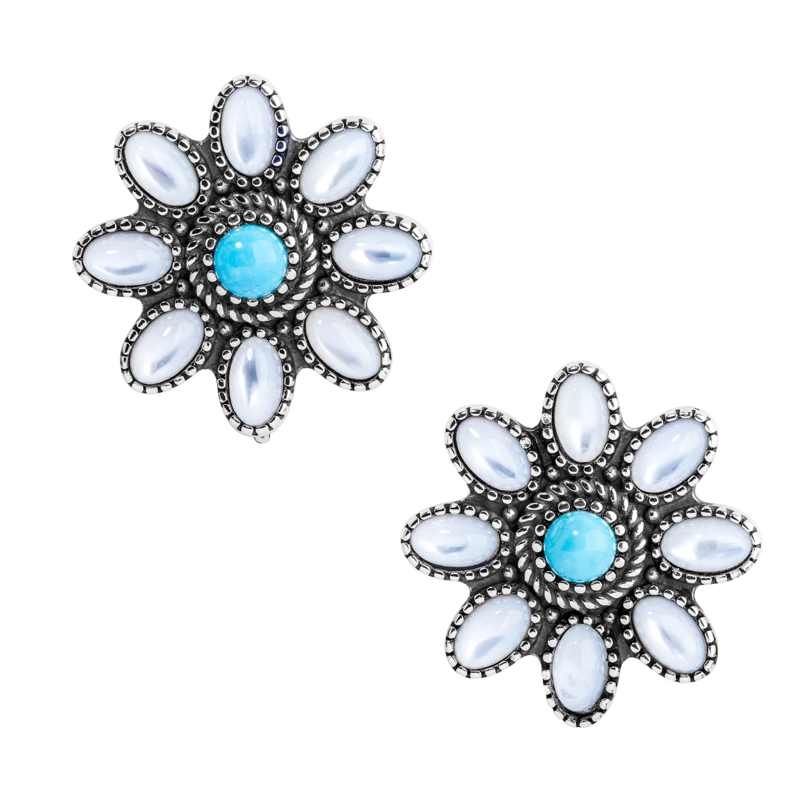 Sterling Silver, White Mother of Pearl, & Turquoise Clip Flower Earrings