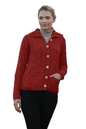 Ladies Irish Buttoned Cable Knit Super Soft Merino Wool Cardigan at Amazon  Women s Clothing store  3e4fb948b