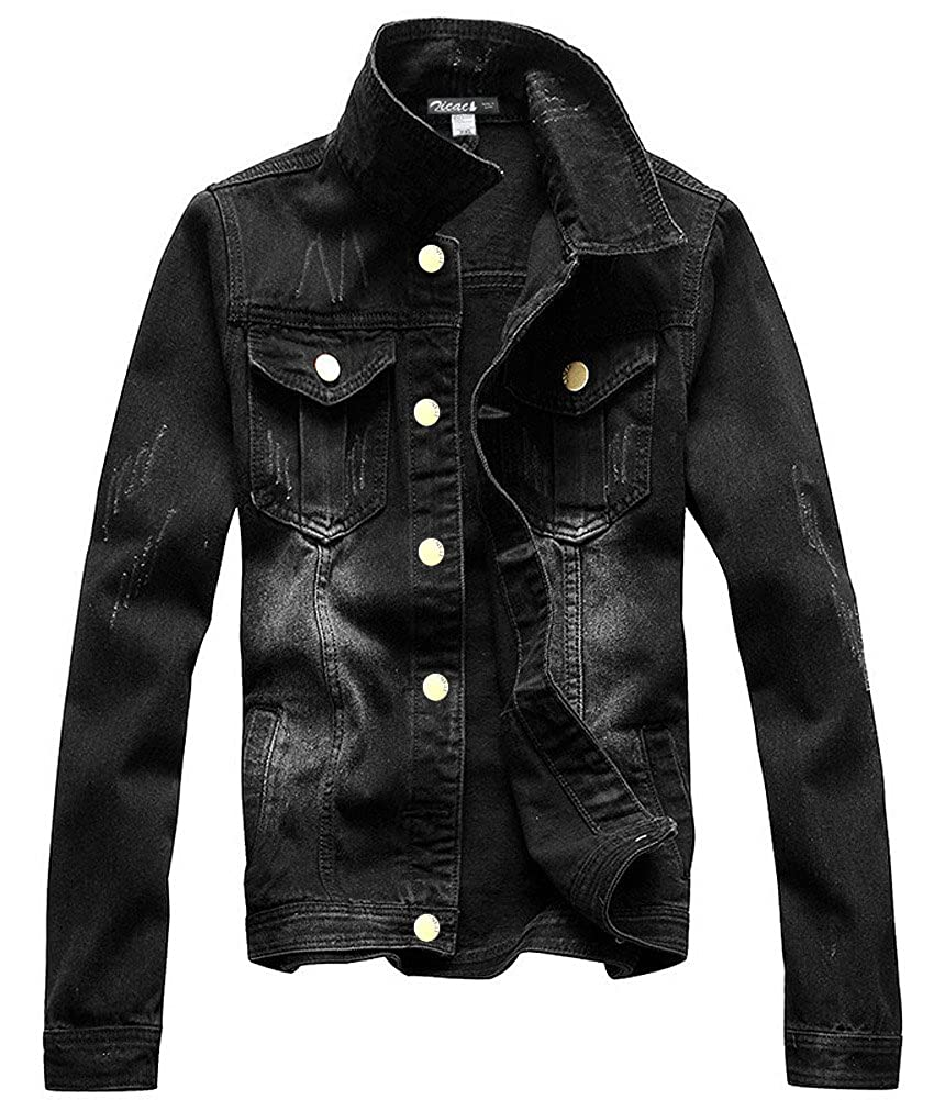 Zicac Men's Casual Denim Jacket Military Slim Fit Driver Button Coat Black)