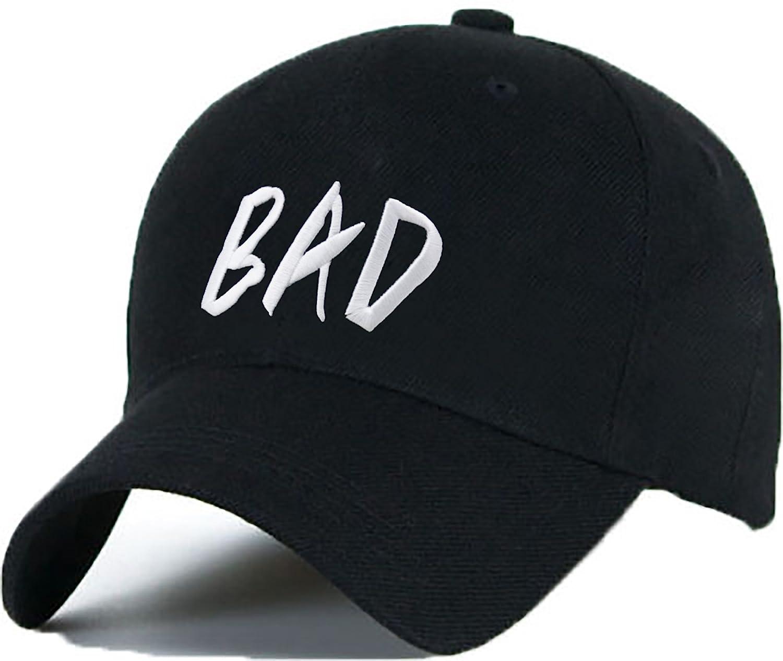gorra con una leng/üeta ajustable de pl/ástico Gorra de b/éisbol con texto en ingl/és BAD hip-hop
