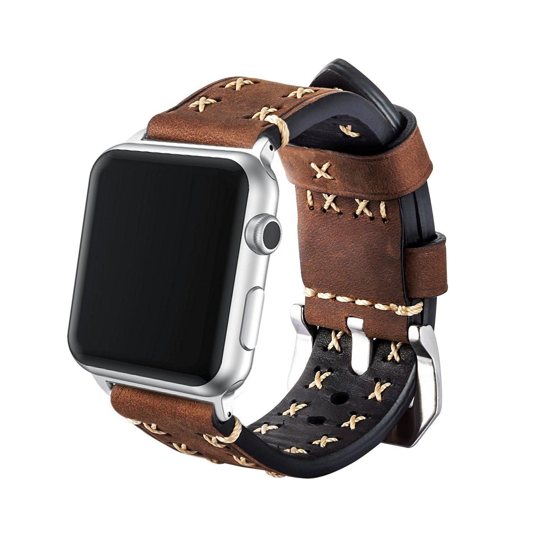 Cailin for Apple Watchバンド38 mm 42 mmハンドメイド本革プレミアムヴィンテージ用交換バンドステンレススチールブラックClasp for Apple Watchシリーズ3 2 1スポーツとEdition 42 mm 42 mm|コーヒー コーヒー 42 mm B07DXHQDM7
