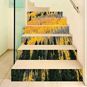 Fall 3D Stair Stickers Decals-6Pcs/Set,Colorful Aspen Forest in Colorado Rocky Mountains Western Wilderness USA Theme Stair Risers Stickers Removable Staircase Decals Mural Wallpaper for Home Decor