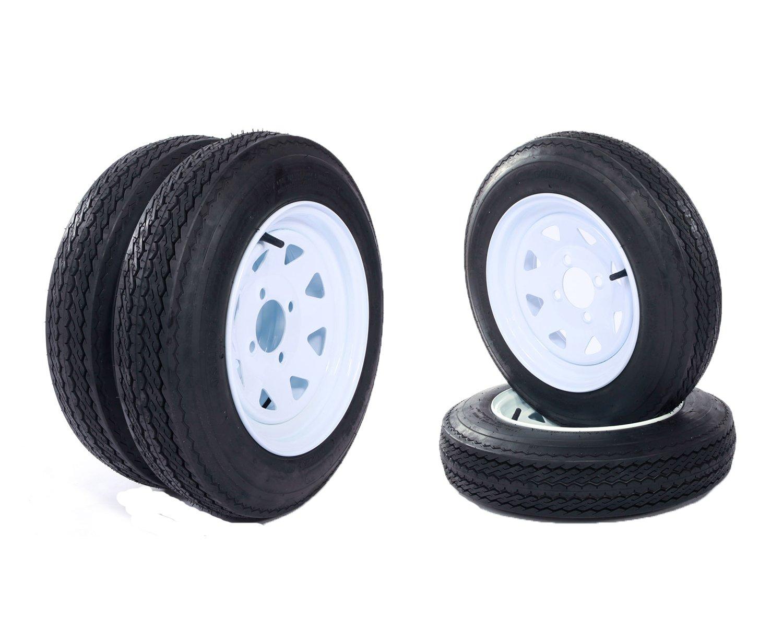 12'' White Spoke Trailer Tires & Rims 4.80-12 Tire Mounted (4x4) Bolt Circle,Set of 4