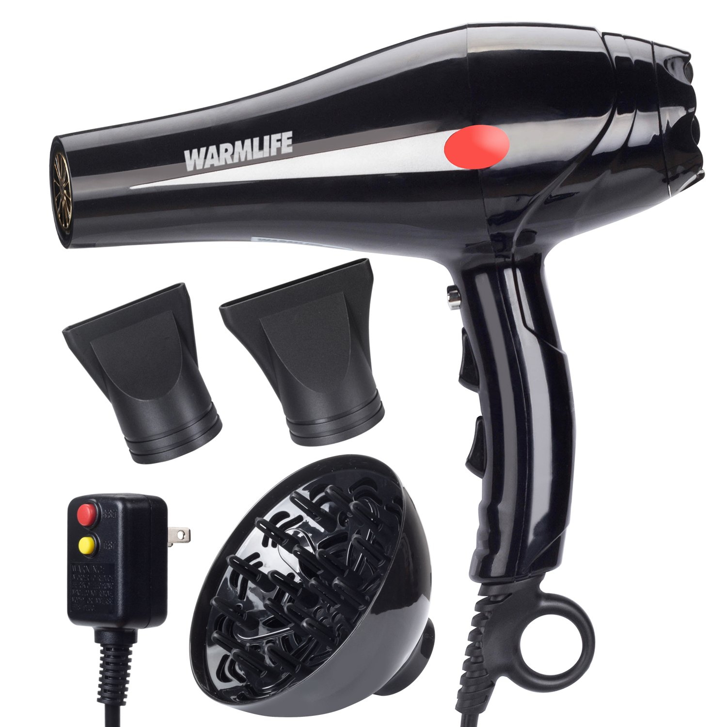 Warmlife 1875W Professional AC Motor Hair Dryer, Negative Ions Ceramic Ionic Blow Dryer with 2 Speed and 3 Heat Settings Cold Shot Button, with Concentrator & Diffuser Low Noise (Classical balck)