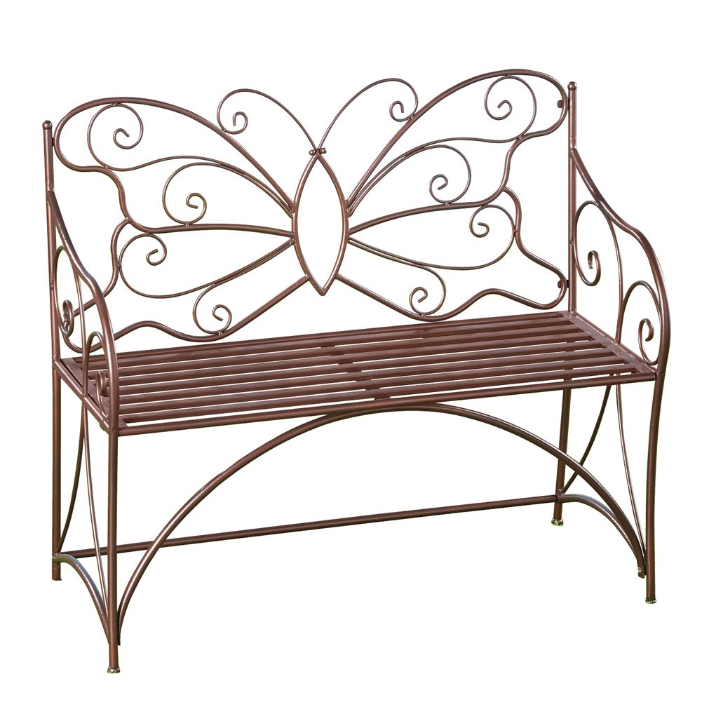 Collections Etc Butterfly Outdoor Metal Garden Bench Decorative Patio Furniture