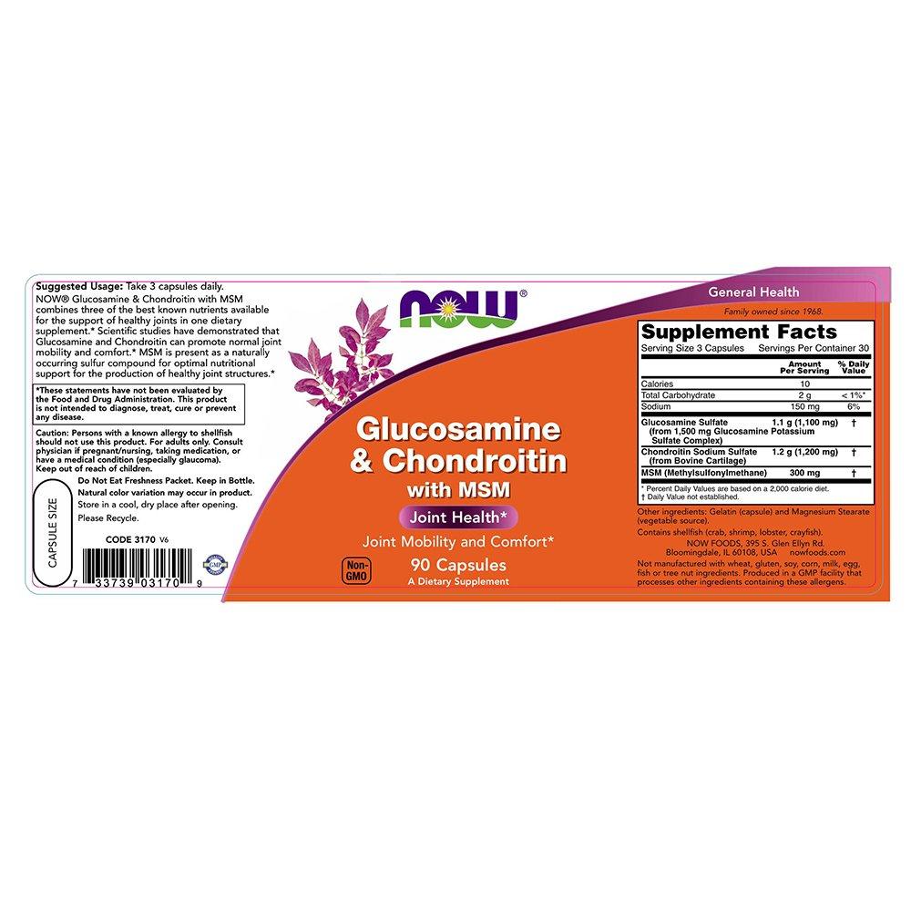 NOW Glucosamine Chondroitin 300mg Capsules Image 3