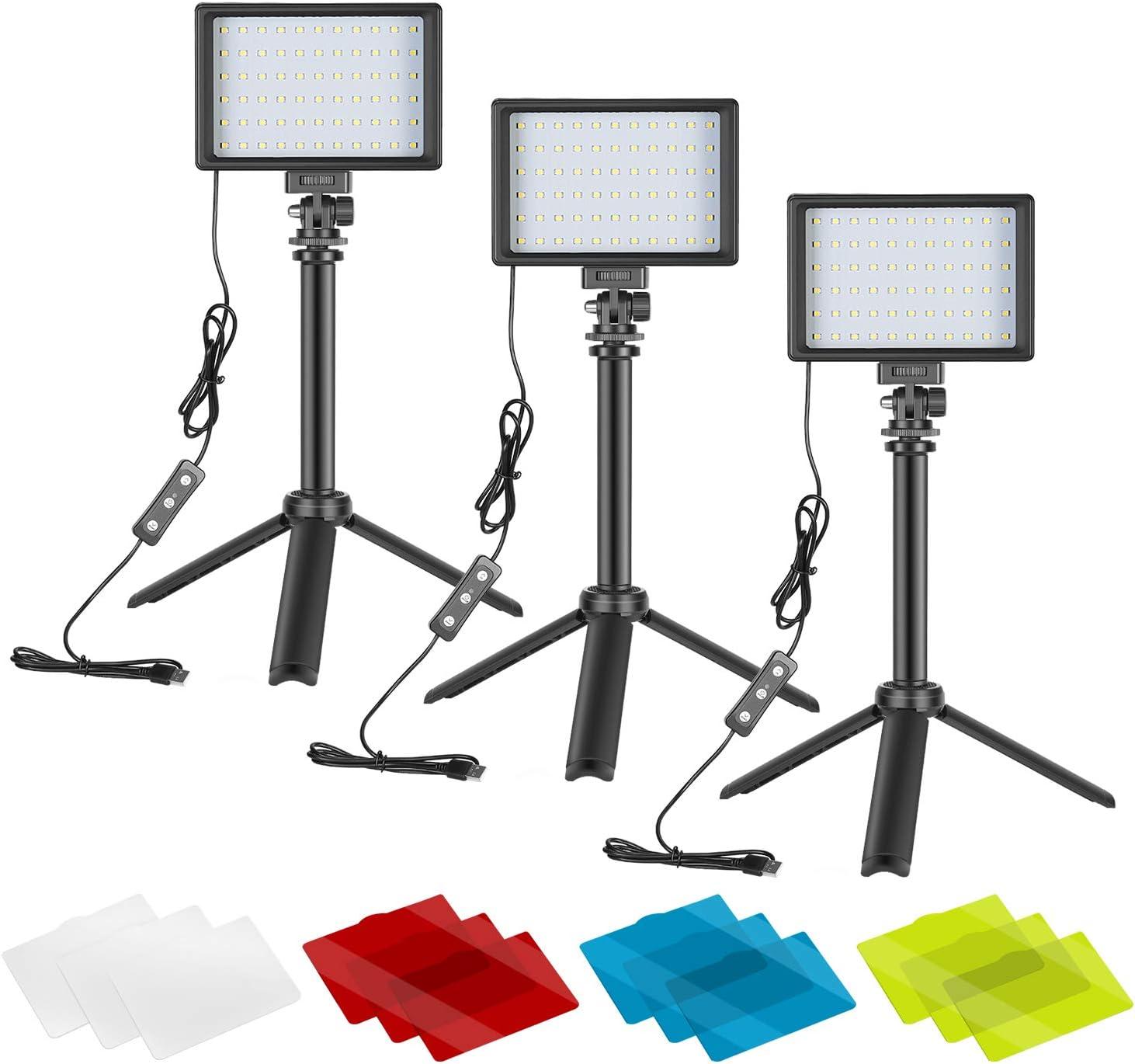 Neewer 3 Pack Kit de Iluminación para Fotografía Portátil Luz de Video LED Regulable 5600K USB 66 Luz de Video LED con Mini Soporte de Trípode Plegable Ajustable y Filtros Color para Grabación Estudio