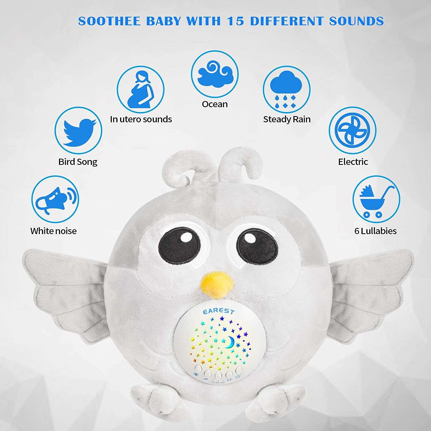 Toddlers /& Kids White Noise Sound Machine Baby with Nightlight Star Projector /& 3 Auto Timer /&15 Lullabies Sounds EAREST Baby Sleep Soother Hedgehog Stuffed Animal Plush Toy for Babies