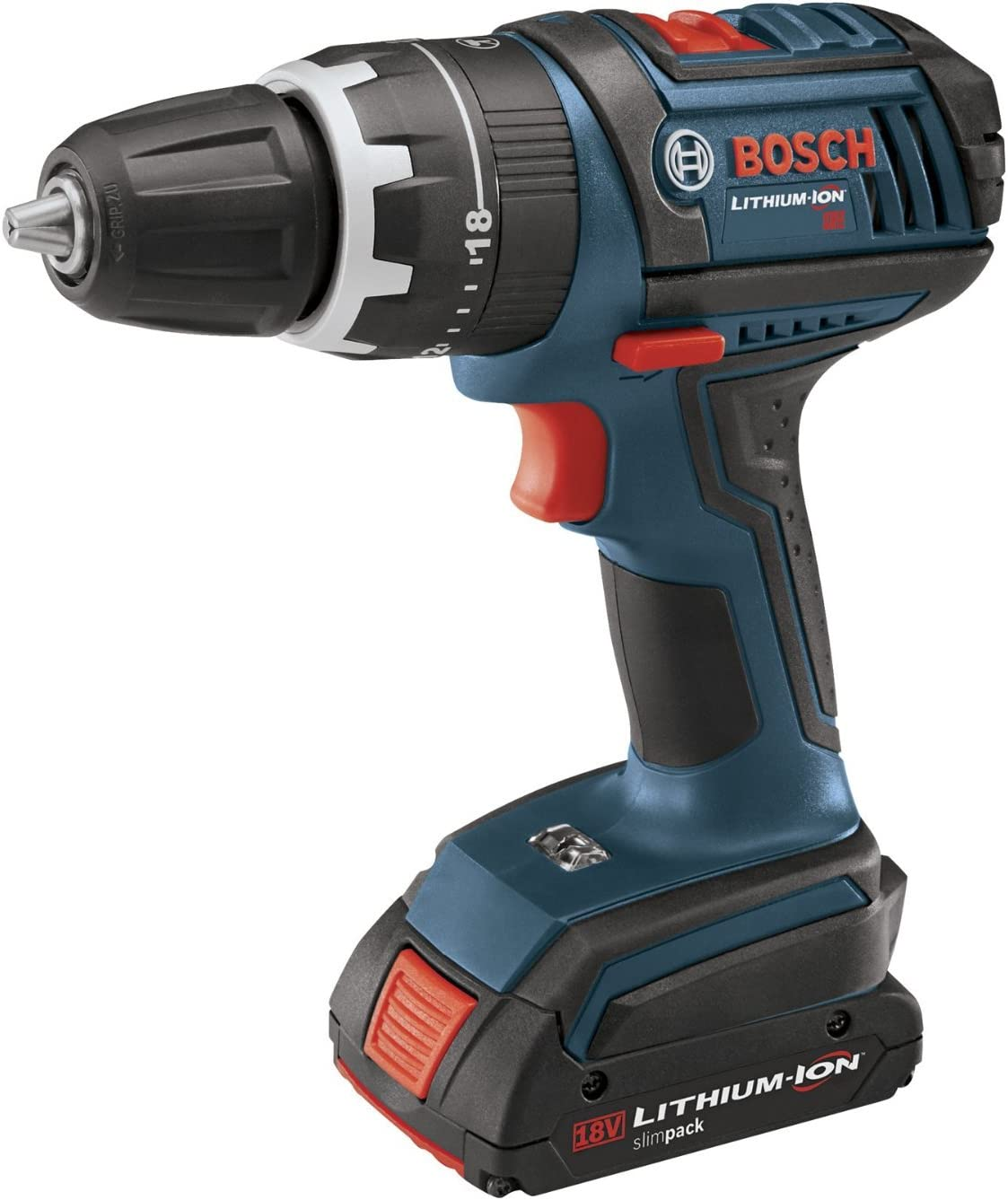 Bosch HDS180-03 18-Volt Lithium-Ion 1 2-Inch Compact Tough Hammer Drill Driver with 2 Batteries, Charger and Case