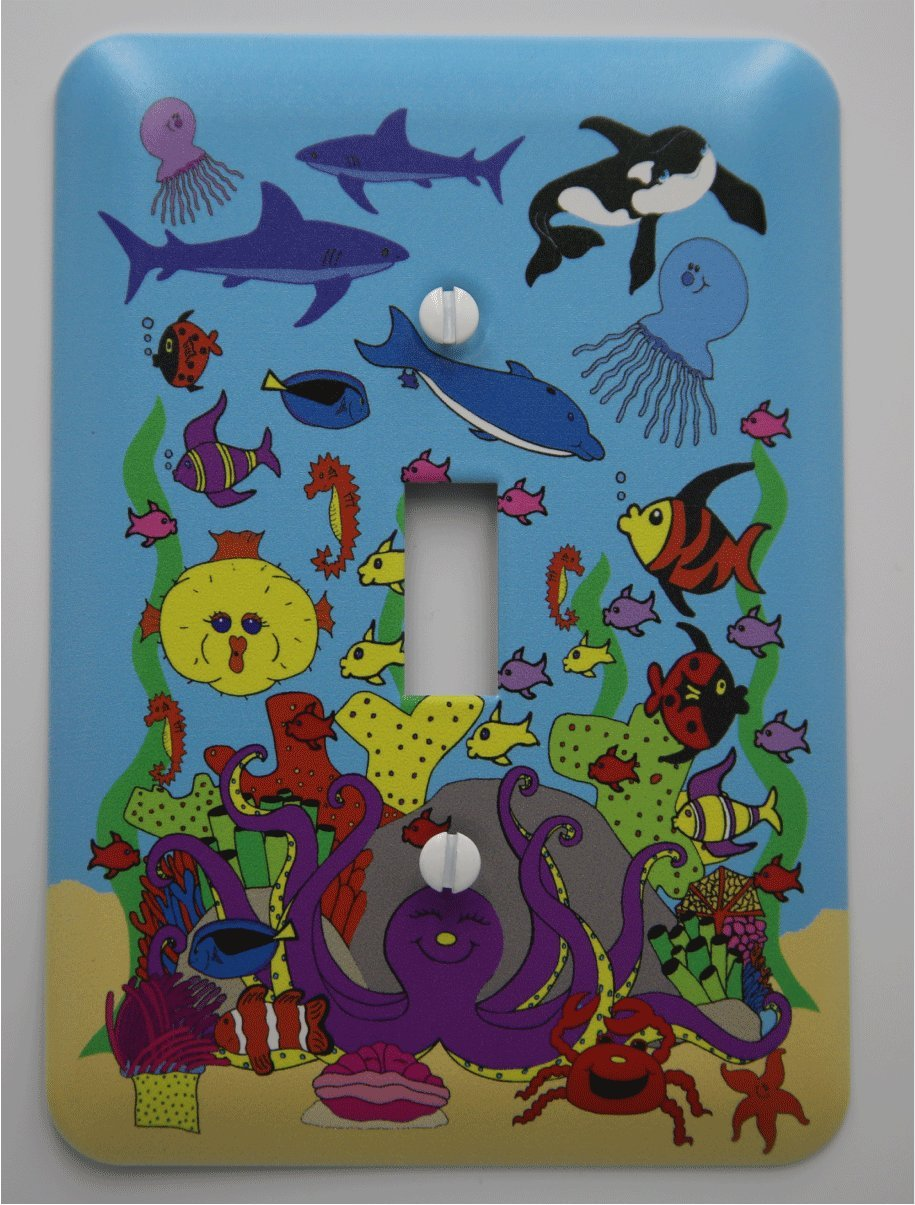 Under Sea Light Switch Plates with Dolphins, Whale, Sharks, Octopus, Jelly Fish and Clown Fish/Under Sea Children's Nursery Decor (Single Toggle)