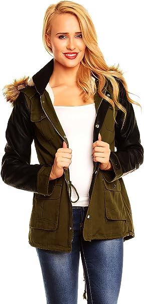 Fashion Damen Jacke mit Lederärmeln mit Fell Futter Military Look Khaki, beige und schwarz