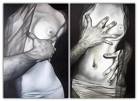 Mauro Ferretti 310960000 Dipinto Su Tela Nudo Abbraccio Cm 100x150