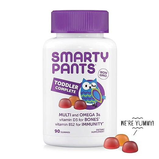 SmartyPants Toddler Daily Gummy Vitamins Complete: Multivitamin, Gluten Free, Omega-3 Fish Oil (EPA/DHA Fatty Acids), Vitamin D3, Vitamin B12, Iodine, Vitamin E, 90 Count (30 Day Supply)