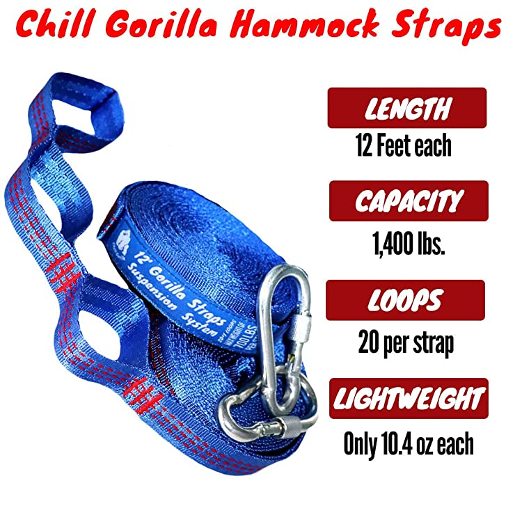CHILL GORILLA XXL HAMMOCK TREE STRAPS. Fits All Camping Hammocks