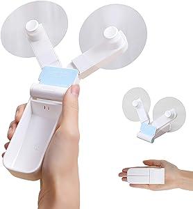 Mini Handheld Fan, Personal Fan Battery Operated Fan Electric Quiet Fan USB Rechargeable Fan Folding Hand Fans Portable Fan for School & Office, 2 Modes Double-Head Mini Fan, White