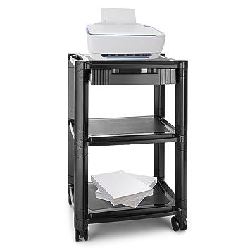 auna P-Stand Mesa con ruedas para impresora (guía de cables, frenos, 3 bandejas de altura regulable, mueble oficina) - negro: Amazon.es: Juguetes y juegos