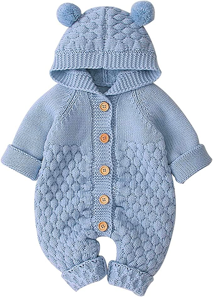 Hooded Baby Jumpsuit Winter Outfits All in One Gogokids Baby Romper