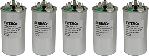 TEMCo 50//5 MFD uF Dual Run Capacitor 370 440 vac Volts 10 LOT AC Motor HVAC 50+5