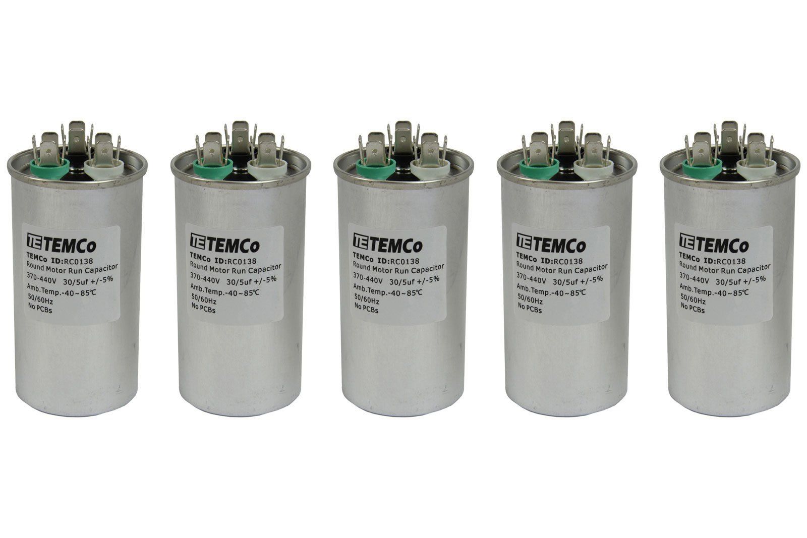 TEMCo 5 LOT Dual Run Capacitor RC0139-30/5 mfd 370 V 440 V VAC volt 30+5 uf AC Electric Motor HVAC