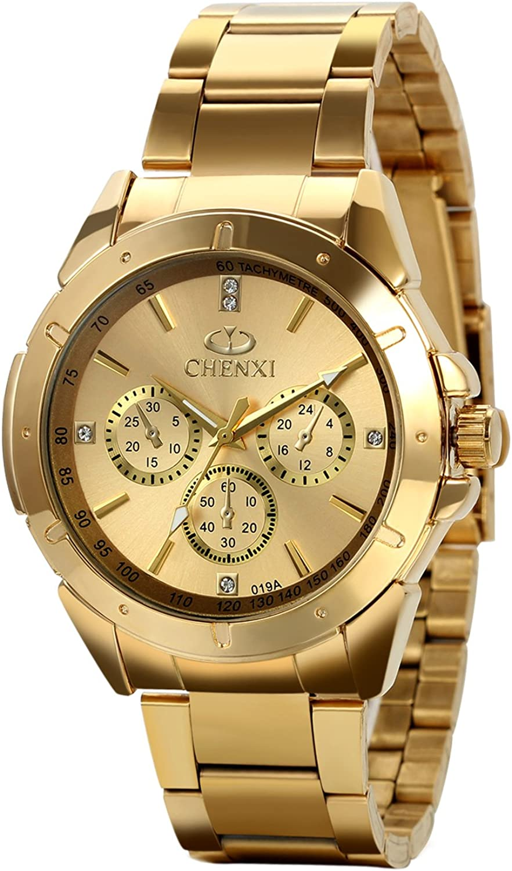 Avaner Reloj Dorado de Esfera Oro de Color, Reloj de Caballero Cuarzo, 3 Subdiales de Decoración, Grande Reloj de Hombre Acero Inoxidable Hip Hop Style, Regalo Navidad