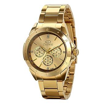 Avaner Reloj Dorado de Esfera Oro de Color, Reloj de Caballero Cuarzo, 3 Subdiales de Decoración, Grande Reloj de Hombre Acero Inoxidable Hip Hop Style: ...