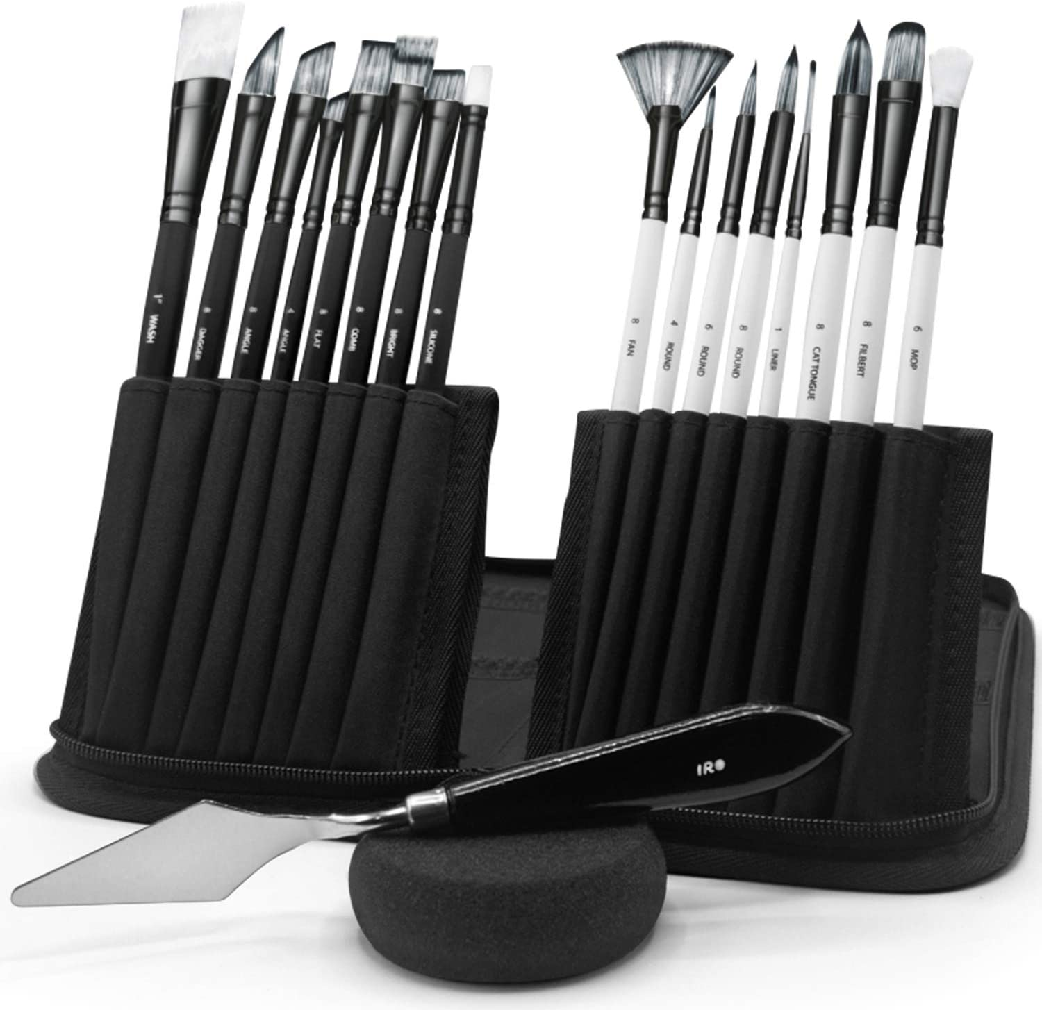 IRO Artist Paint Brush Set of 15 + 1. Flat and Round Art Brushes for Acrylic, Watercolor, Gouache, Oil, face, Body Painting. Pallet Knife and Sponge with organizing Pop-up Case. for Adults and Kids