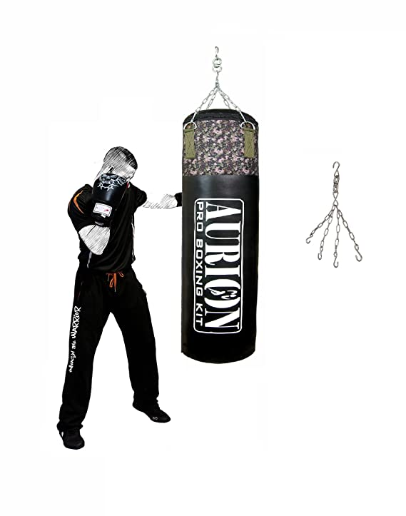 AURION Strong Synthetic Leather Punching with Hanging Chain unfilled  Heavy Bag