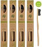 4er-Pack Holzzahnbürste aus nachhaltigem Bambus-Holz ♻ BPA-freie Holzzahnbürste mit Naturborsten ♻ Vegane Hand-Zahnbürste aus Holz in der plastikfreien biologisch abbaubaren Verpackung für Männer und Frauen